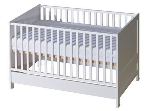 Belivin® 2in1 Babybett, Gitterbett 140x70cm weiß | umbaubar zum Juniorbett Jugendbett inkl. Matratze | mitwachsendes multifunktionelles Baby Bett...