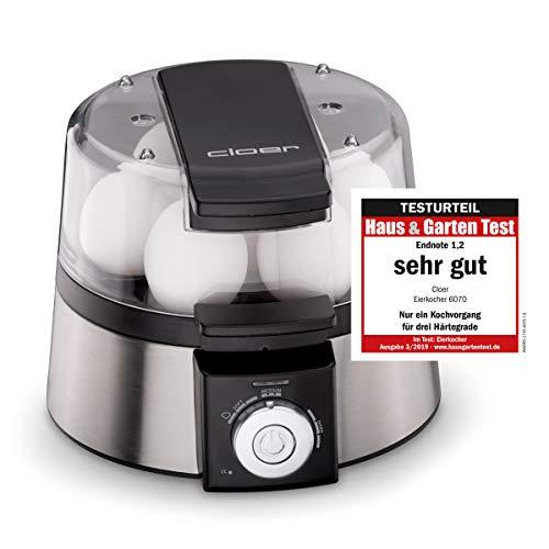 Cloer 6070 Elektronischer Eierkocher / für bis zu 7 Eier /  Weiterkochfunktion / akustische Fertigmeldung / 3 Pochierschalen / 435 W / Edelstahl