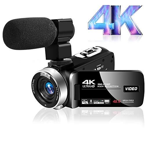 Camcorder Videokamera Ultra HD 4K Camcorder mit Mikrofon, 48MP Vlogging Kamera...