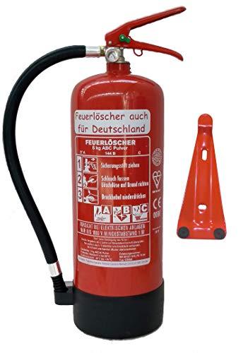 Feuerlöscher 6kg ABC Pulverlöscher mit Manometer EN 3 , Prüfnachweis mit...