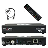 Maxytec Multibox 4K UHD 2160p H.265 HEVC Android & E2 Linux, 8 GB Flash, USB3.0, DVB-S2 Sat & DVB-T2 / C Combo Tuner mottaker svart