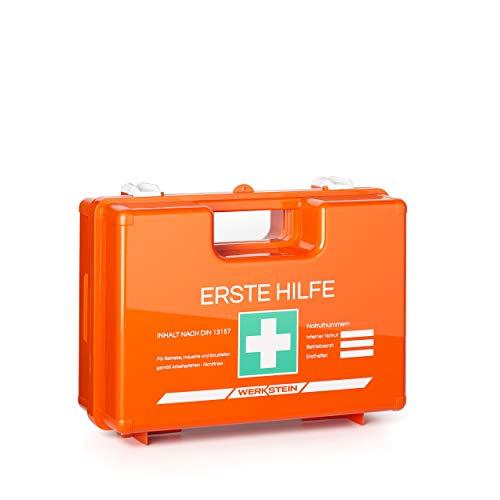 Erste Hilfe Kasten mit Inhalt nach DIN 13157 I Inkl. praktischer Wandhalterung...