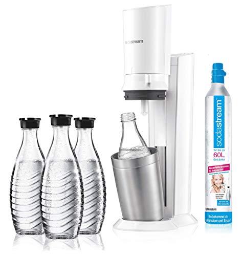 sodastream Crystal 2.0 Aktionspack Wassersprudler, inkl. 3 Glasflaschen (Weiß)