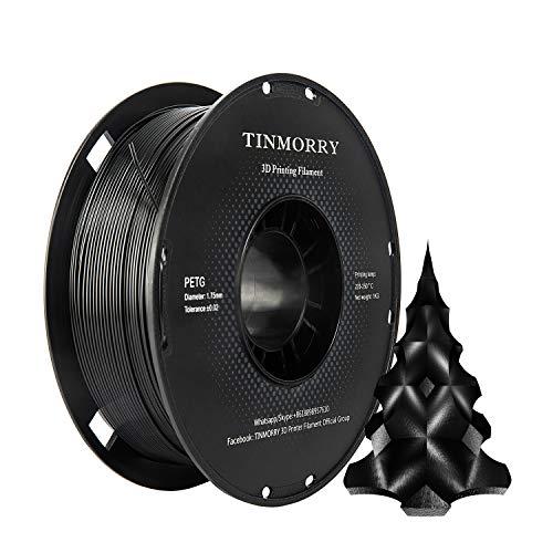 PETG Filament 1,75 Schwarz, TINMORRY Filament PETG 1,75mm für FDM 3D Drucker,...