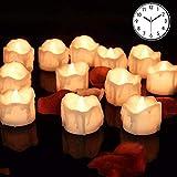 LED-lys med tidtaker, 12 varmhvite LED flammeløse lys ...