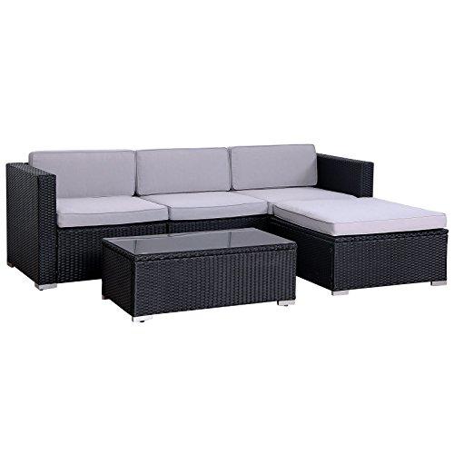 SVITA California Poly-Rattan Lounge Gartenset Sofa-Set Garnitur Gartenmöbel...