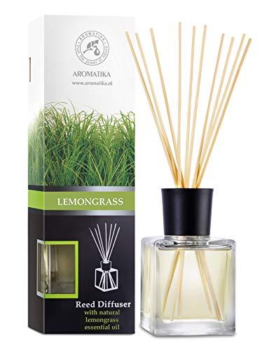 Raumduft Diffuser Lemongrass - Zitronengras 200ml - Glas - mit Naturreines Ätherisches Zitronengrasöl - Intensiv Raumduft - 0% Alkohol -...