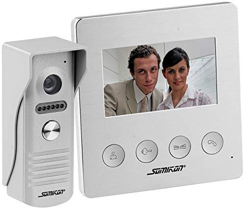 Somikon Videosprechanlage: Video-Türsprechanlage mit Farbdisplay, LED-Licht & Türöffnungsfunktion (Video Türklingel mit Türöffner)