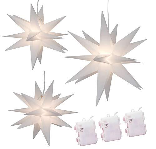 Weihnachtssterne 3er-Set LED Sterne weiß beleuchtet 25/25/35 cm warmweiß...