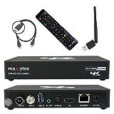 Maxytec Multibox 4K UHD 2160p H.265 HEVC Android & E2 Linux, 8 GB Flash, USB3.0, 150Mbit WLAN, DVB-S2 Sat & DVB-T2 / C Combo Tuner Modtager Sort