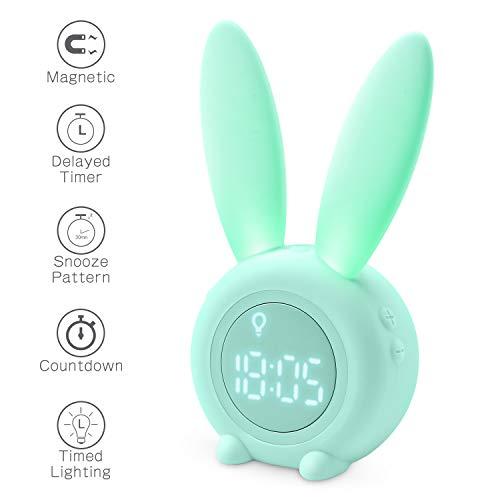 Homealexa Kinder Lichtwecker Cute Rabbit Wake Up Kinderwecker Creative Nachttischlampe Snooze-Funktion, zeitgesteuertes Nachtlicht,...