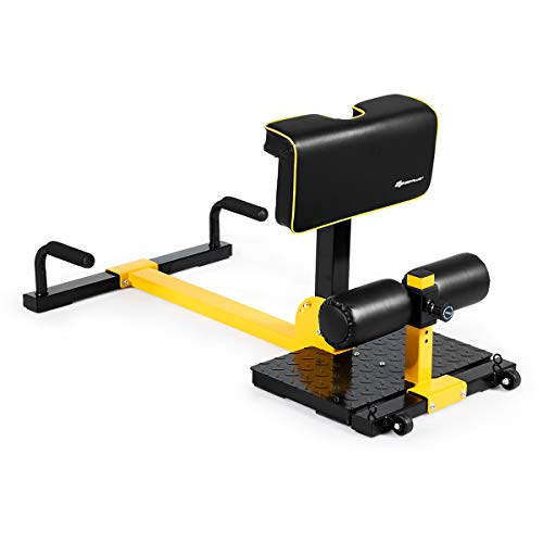 COSTWAY Sissy Squat Kniebeugentrainer, Beintrainer Bauch-Gesäß-Trainer, 8-in-1...