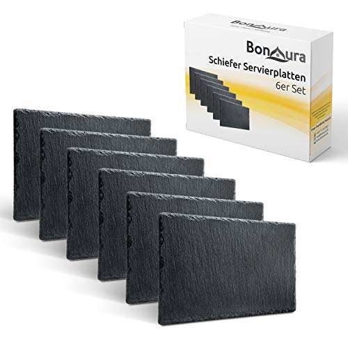 BonAura® Schieferplatten - Schiefer Tischuntersetzer Servierplatten zum...