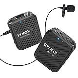 SYNCO Lavalier Funkmikrofon, 2,4GHz Kabellos Ansteckmikrofon System, Wireless...