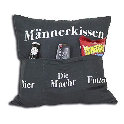 Dekokissen KING OF THE COUCH mit 3 Taschen zum Befüllen Geschenk Sofa Öko Tex