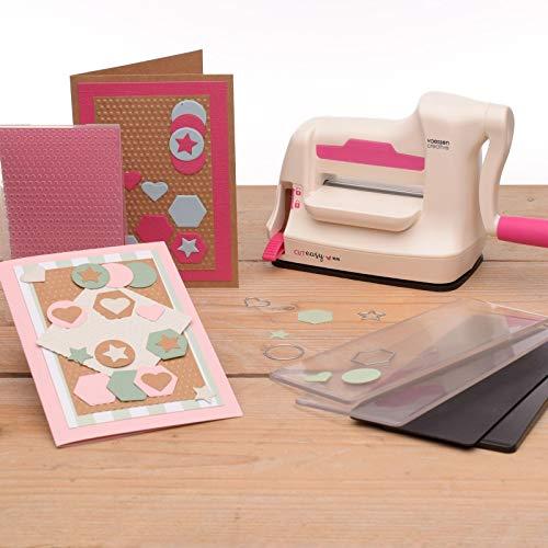 Vaessen Creative 2137-035 Mini Stanz und Prägemaschine, weiß/rosa, 12,5 x 21 x...