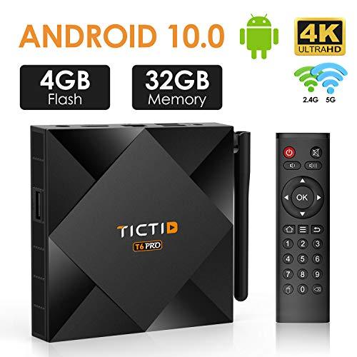 TICTID Android TV Box Android 10.0 【4G + 32G】 T6 Pro Smart tv Box Allwinner H616 64-bittinen neliydin / Ethernet 10 / 100M / Vakio RJ-45 tukee ...