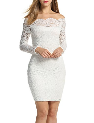 Beyove Women's Vintage Dress Off Shoulder Spicy Dress Long Sleeve Knee-Length Festive Cocktail Evening Dress