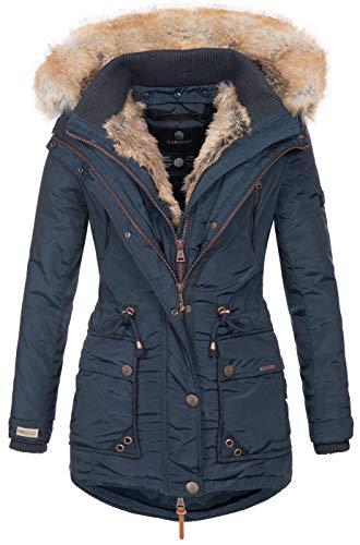 Marikoo Damen Winterjacke Kapuze Kunstfell Winter Jacke warm lang B617...
