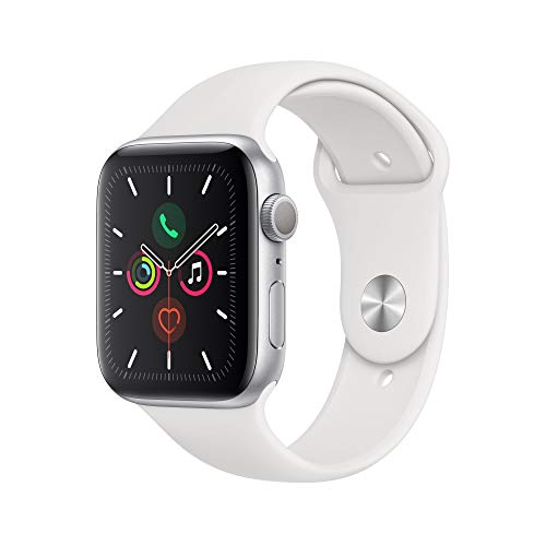 Apple Watch Series 5 (GPS, 44 mm) Aluminiumgehäuse Silber - Sportarmband Weiß