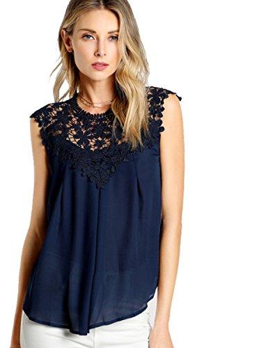 ROMWE Damen Elegant Ärmellos Chiffon Bluse mit Blumen Spitze Shirt Oberteil Bluse Marineblau XS