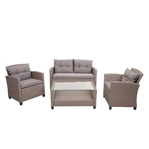 Mendler XXL Poly-Rattan Garnitur HWC-F10, Balkon-/Garten-/Lounge-Set Sitzgruppe,...