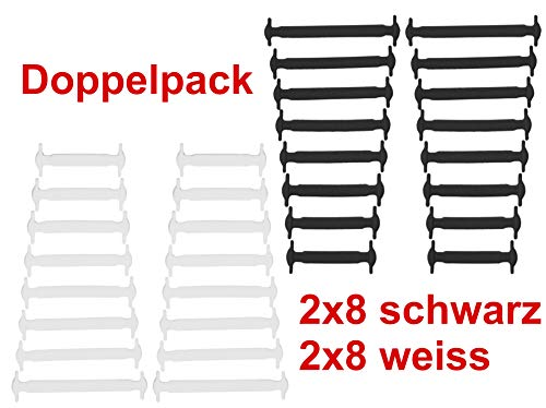 JANIRO Elastische Silikon Schnürsenkel flach   Flexible schleifenlose Schuhbänder ohne Binden   Kinder & Erwachsene (schwarz/Weiss)