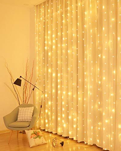 LED Lichtervorhang, 3 * 3M 300er Lichterketten Vorhang USB Fenster Lichterkette...