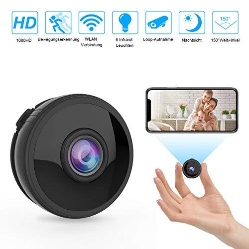 Mini WLAN Kamera Überwachungskamera Wireless Full HD 1080P mit 6 Infrarot-Licht Nachtsicht Bewegungserkennung App Fernbedienung 150° Weitwinkel...