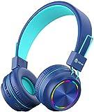 iClever Bluetooth Kinder Kopfhörer, Bunte Lichter LED, 85dB...