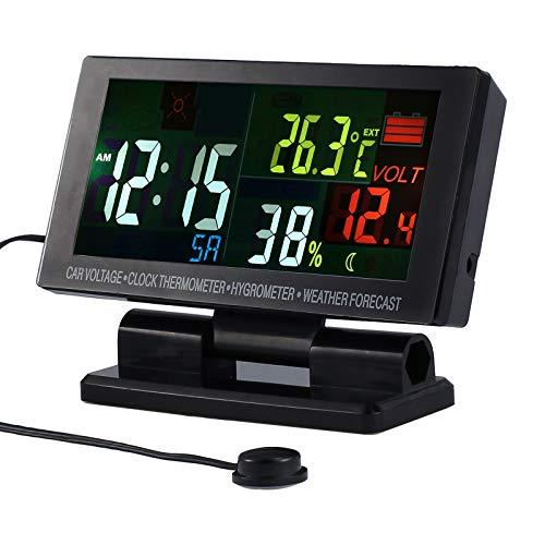 LCD Auto Digital Innen Au/ßen Thermometer Spannungstester Spannungsmesser KFZ PKW Datum Uhr Alarm Orange+Gr/ün