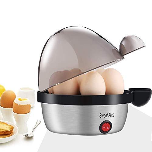 Eierkocher Edelstahl, Sweet Alice Eierkocher Testsieger Egg Cooker für 1-7 Eier mit Härtegradeinstellung, Indikationsleuchte...