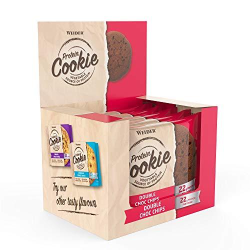 WEIDER Vegan Protein Cookie 90g, Double Choco Chips, 12 gebackene Eiweiß-Kekse...