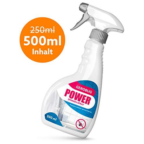 Gerobug Power Spinnenspray 500 ml zur Spinnen Bekämpfung + Effektives Anti-Spinnen-Mittel mit Sofort- u. Langzeitwirkung + Spinnen-Spray Innen &...