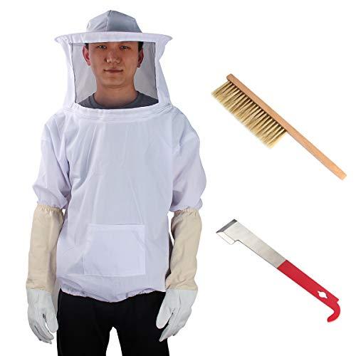 Yodensity Professionelle Bienenzucht belüftet Set Jacke mit Schleier + Handschuhe + Schaber + Bienenpinsel für Imker