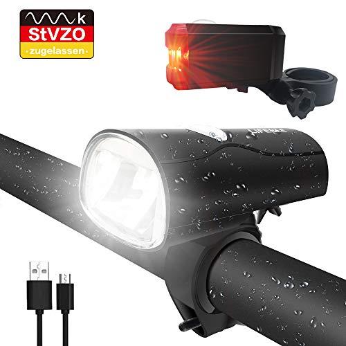 LIFEBEE LED Fahrradlicht, LED Fahrradbeleuchtung StVZO Zugelassen USB Wiederaufladbare Frontlicht und Rücklicht Set, Fahrradlampe, 2 Licht-Modi,...
