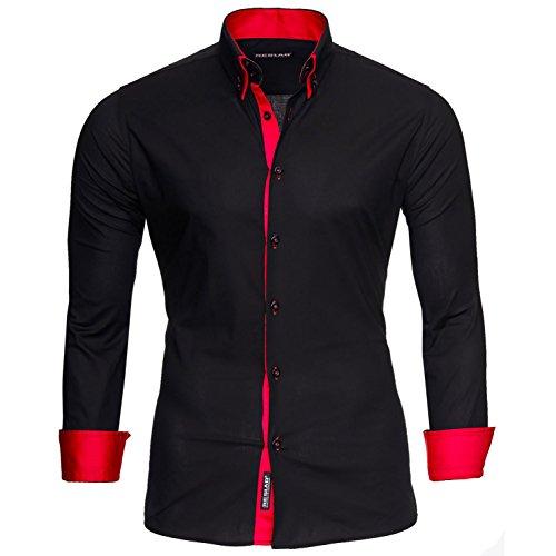 Reslad Herren Hemd bügelfrei Slim Fit Freizeit Hemden Business Herrenhemd Kontrast zweifarbig Langarm RS-7050 Schwarz Rot Gr XXL