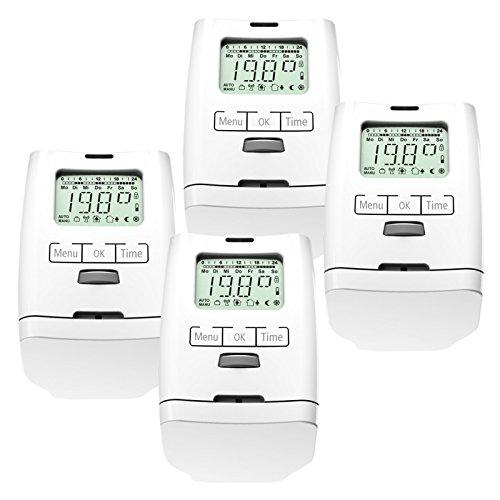 4 Stück Premium Elektronischer Heizkörperthermostat Thermostat...