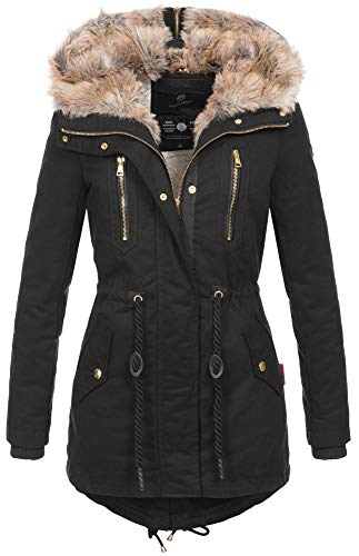 Navahoo warme Damen Winter Jacke lang Teddyfell Winterjacke Parka Mantel B648...
