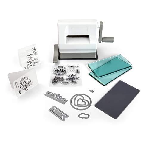 Sizzix Sidekick Starter Kit, Manuelle Stanz- und Prägemaschine mit Saugfuß, Framelits- und Thinlits-Schablonen, Textured Impression Prägeschablone...