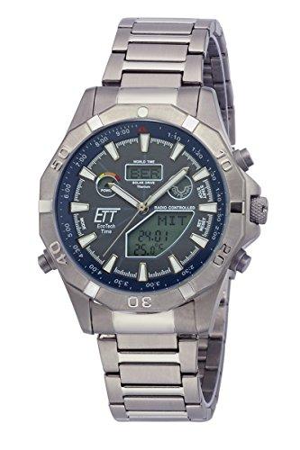 ETT Eco Tech Time Funk Solar Weltzeit Herren Uhr Chronograph mit Titan Armband...