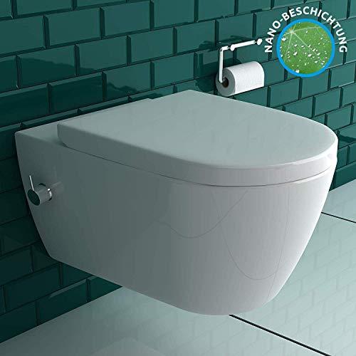 Antibakterielle Beschichtung Dusch WC mit einer integrierten Kalt- & Warmwasser Armatur | inkl. Quick-Release WC-Sitz mit Absenkautomatik | Warm &...