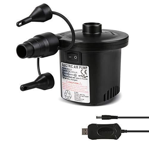 Deeplee Elektrische Luftpumpe USB Luftmatratze Pumpe, 2 in 1 Elektropumpe Power...