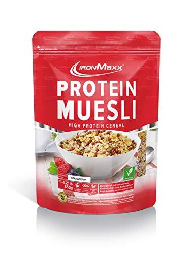IronMaxx Protein Müsli Erdbeere - 550g - Veganes Fitness Müsli laktosefrei und...