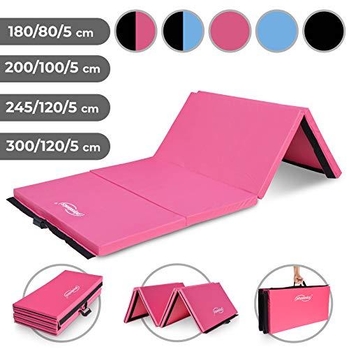 Physionics Klappbare Turnmatte (245x120cm, rosa) - Farbwahl und Größwahl, rutschfest, Tragbar, Vielseitig Einsetzbar - Gymnastikmatte, Yogamatte,...