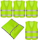 4 Stück Warnweste Neon Gelb - Waschbar - 360 Grad Reflektierende...