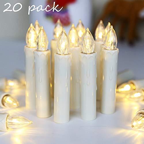 20er LED Kerzen mit Timer, Fernbedienung und Batterien, IP64 Dimmbar...