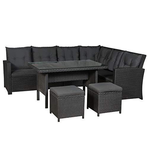 ArtLife Polyrattan Sitzgruppe Lounge Santa Catalina schwarz – Gartenmöbel-Set...