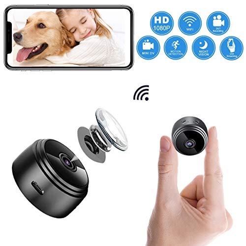 ablever Mini Kamera, Klein Akku überwachungskamera Innen WLAN Handy mit Bewegungserkennung und Speicher Aufzeichnung Mikro WiFi IP Kamera,Nachtsicht...