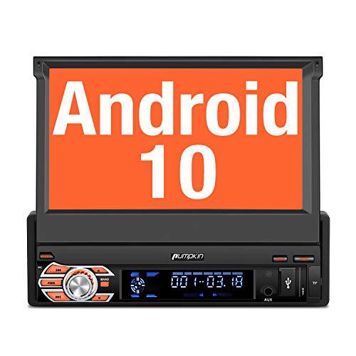 PUMPKIN Android 10 Autoradio 1 Din Radio mit Navi Ausfahrbares Touchscreen...